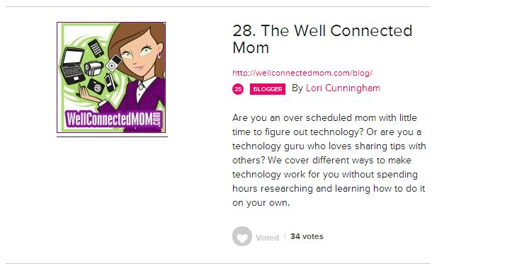Vote for Well Connected Mom Top Tech Mom 2013
