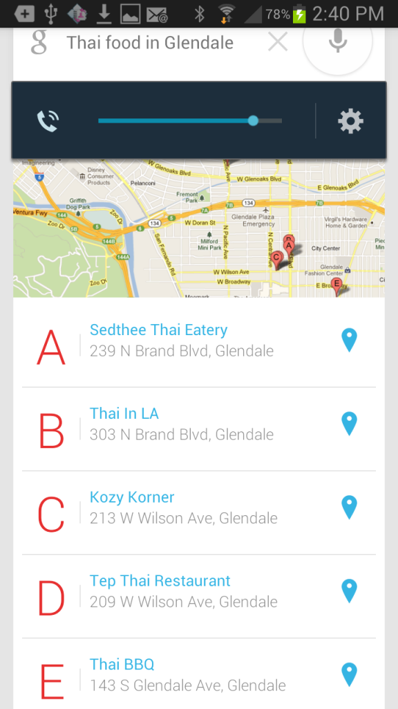 Using google voice commands on your android phone the for Angel thai cuisine glendale