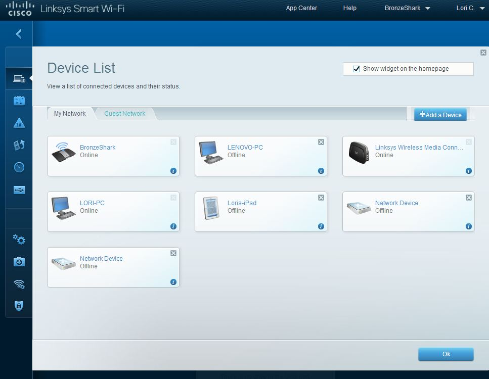 Linksys SMART Wi-Fi Device List