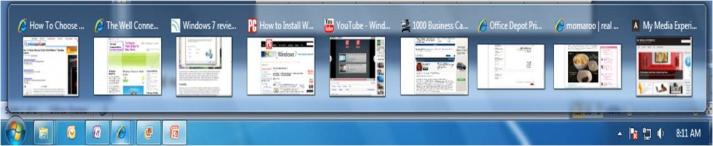 Taskbar Preview - IE 8 Browser