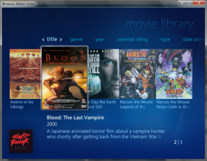 Win 7 Movie Library Media Center
